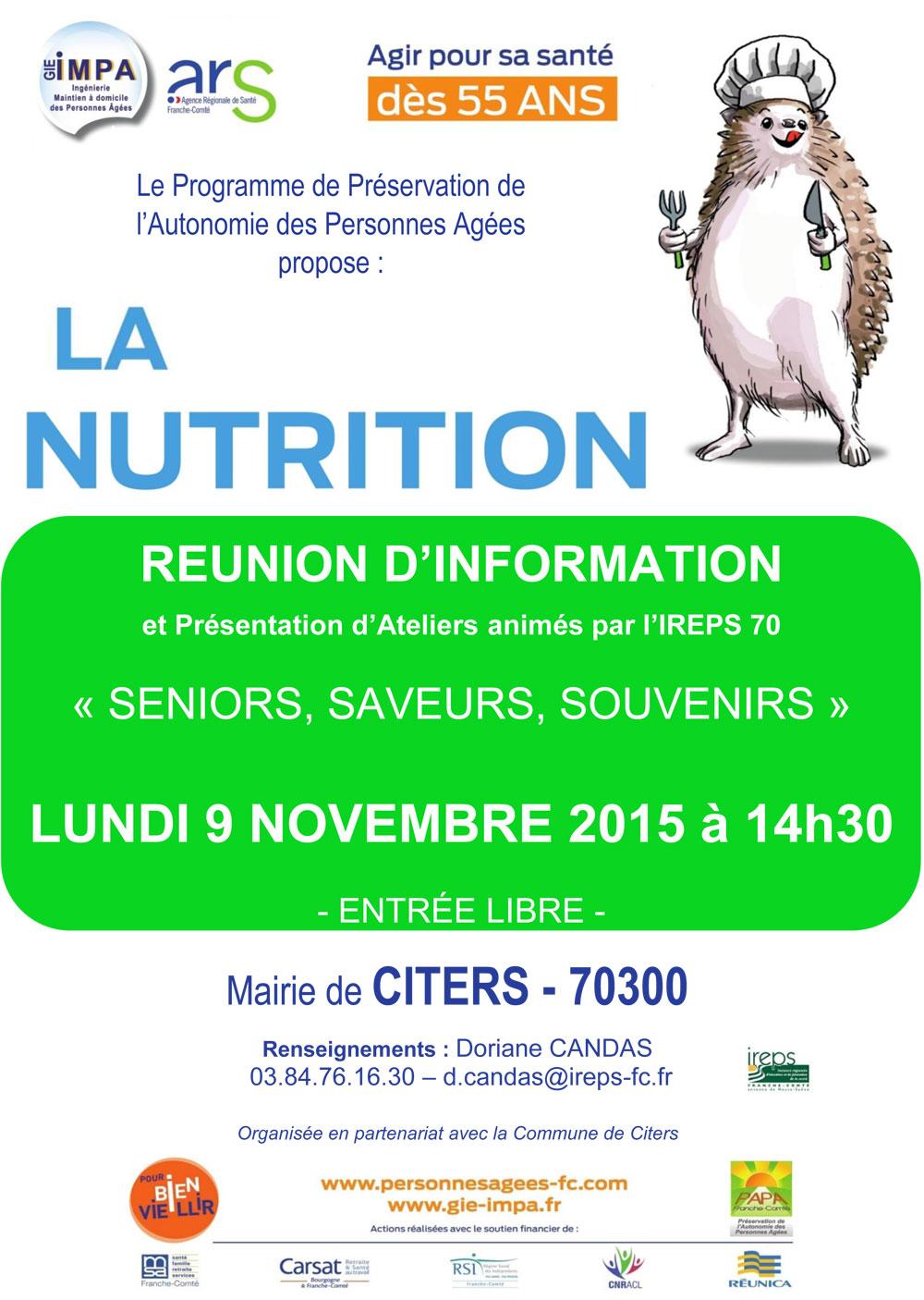 Réunion d'information Nutrition à Citers